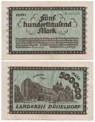 5oo.ooo Marks German Kreisnotgeld issued in 1923 by Dusseldorf stadt  vf