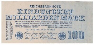 1oo Milliards Marks German banknote issued in 26.10.1923 xf