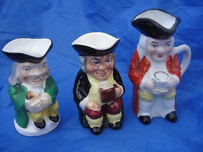 Three Lovely Vintage Small Toby Jugs