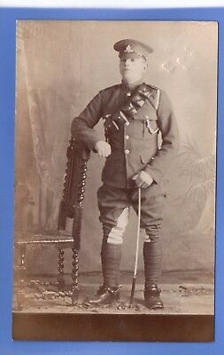 Superb Ww1 War Proud Young British Army Soldier In Uniform Rp Photo Postcard