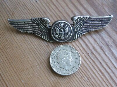 Solid Silver Ww2 American  Air Force Badge / Brooch /  Made By Blackinton