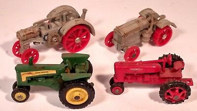 Lot of (4) Ertl 1/87 Scale HO Scale Farm Tractors, 1920 to 1950 Era, Die Cast