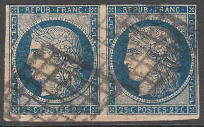 FRANCE 6b YELLOWISH PAPER PAIR F-VF SOUND $135 SCV GRILLE CANCEL 99c NO RESERVE