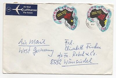 1969 SIERRA LEONE Air Mail Cover FREETOWN To WUNSIEDEL GERMANY Maps