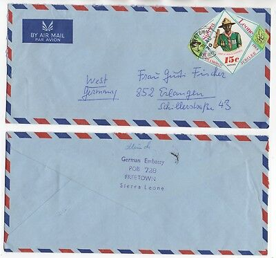 1970 SIERRA LEONE Air Mail Cover FREETOWN To ERLANGEN GERMANY Embassy SCOUTS