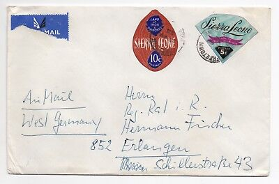 1972 SIERRA LEONE Air Mail Cover FREETOWN To ERLANGEN GERMANY Maps EMBASSY