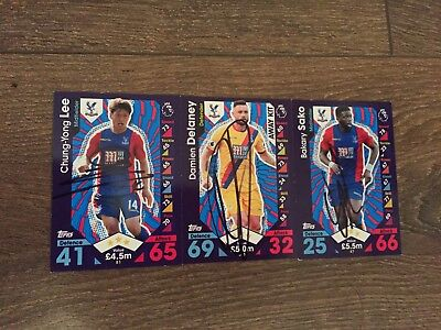 Set Of 3 Hand Signed Crystal Palace 16/17 Match Attax Cards