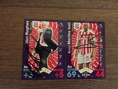 Hughes & Martins Indi Hand Signed Stoke City 16/17 Match Attax Extra Cards