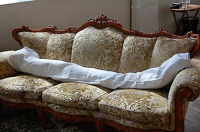 LOT 2 Large BOLSTER Sham Case PURE Floppy LINEN Vintage FRENCH White Double Size