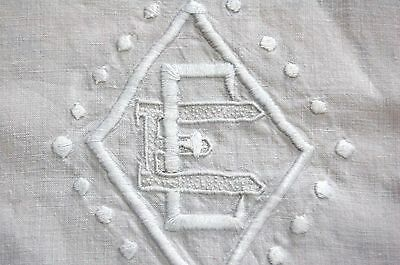 Antique French Pure LINEN Sheet EE Monogram 79 x 102 Embroidery Summer Weight