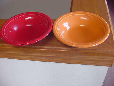 2 Mixed Color Fiestaware Soup Cereal Bowls 2006 Red & Orange