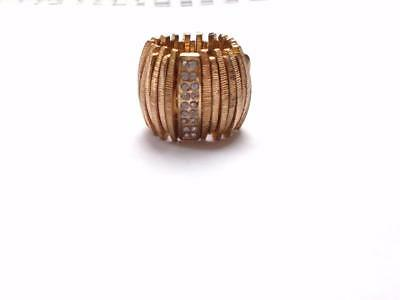 Vintage 80's Striking Gold Tone Panel Clear Crystal Chunky Statement Ring