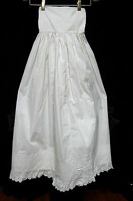 Antique Victorian Edwardian Long White Cotton Embroidered Lace Christening Slip
