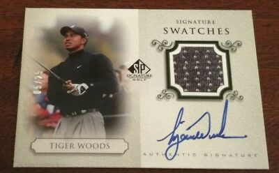 tiger woods sp signature swatches autograph card #5/25
