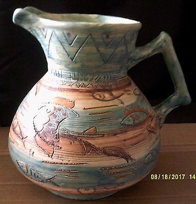 """Shorter Aztec Jug by Mabel Leigh. 8"""""""