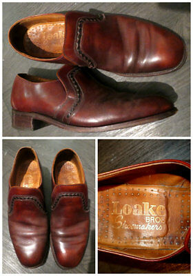 Loake Bros Vintage Brown Leather Men's Loafers Shoes Ska Mod Rockerbilly Uk 7