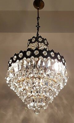 Antique French Basket Style Brass & Crystals Chandelier from 1950's