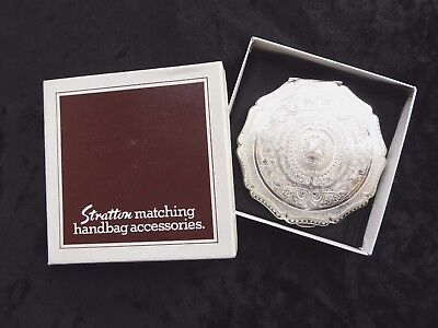 Vintage silver plate Stratton compact with original box ##OAD76ABS