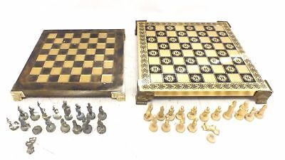 2 x Various Wooden & Brass CHESS BOARDS With Metal Pieces - R33