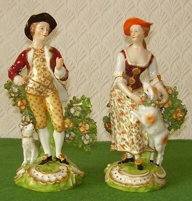 ANTIQUE QUALITY PORCELAIN FIGURINES MAN & LADY CONTINENTAL ANCHOR MARK c 1900s