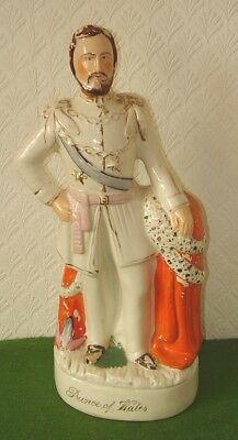 ANTIQUE STAFFORDSHIRE FLAT BACK FIGURE LARGE STATUE PRINCE OF WALES circa 1880