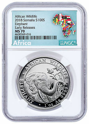 2018 Somalia 1 oz Silver Elephant 100S Coin NGC MS70 ER Exclusive Label SKU49902