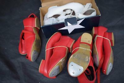 5 Pairs of Childrens Tap Dancing Shoes 4 x Red 1 x White w Box S 9, 10, 11 & 12
