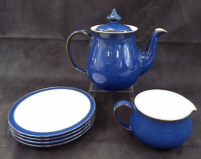 DENBY Fine Stoneware Handcrafted 6 Pieces Imperial Blue Tea Set - B29
