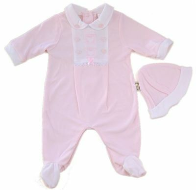 Baby girls set traditional babygrow & hat layette outfit pink 0-3 months BNWT