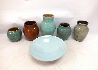 P. OB POTTERY 6 Pieces Collection of Vintage 1940's VASES & BOWLS - M32