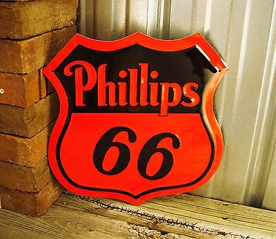 """Phillips 66 Gasoline Shield Die Cut Out Red Embossed Metal Tin Sign Garage 12"""""""