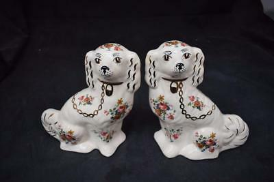 Pair of Made in England China Mantle dogs w Floral Design & Crown Mark to base