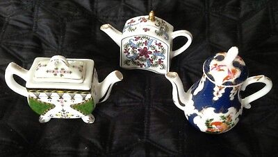 3 x Miniature China Teapots. Art Porcelain
