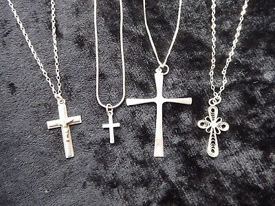 4 vintage silver crucifix pendants - varying sizes and designs ##CAR76ABS