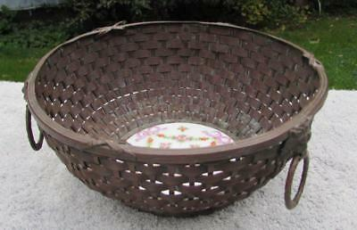 Stunning Antique 19thC Japanese Ikebana Bronse Basket with Porcelain Base.