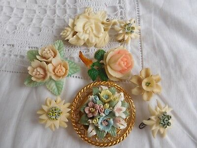 Lovely Collection of Vintage 1950s/60s  Flower Costume Brooches