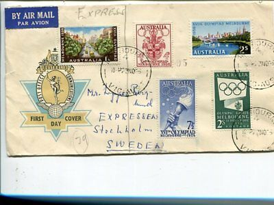 Australia Olympics express cover to Sweden 22 No 1956(not FDC)