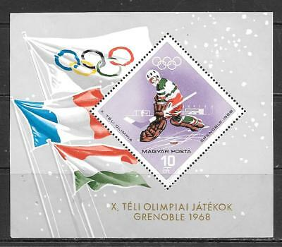 HUNGARY - 1967.  Winter Olympic Games, Grenoble - M/Sheet, MNH