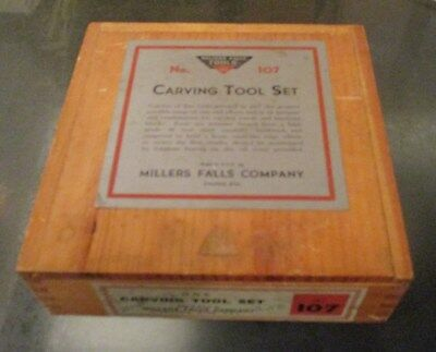 Old MILLERS FALLS CARVING TOOL SET 107 Unused in Wooden Box
