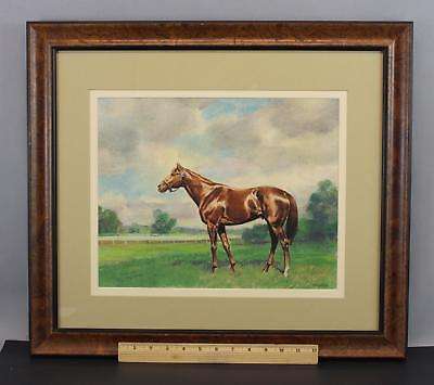 Antique MILTON MENASCO Thoroughbred Racehorse Horse Portrait Pastel Painting NR