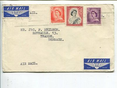 New Zealand air mail cover to Denmark 1955