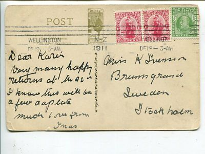 New Zealand post card to Sweden 1911
