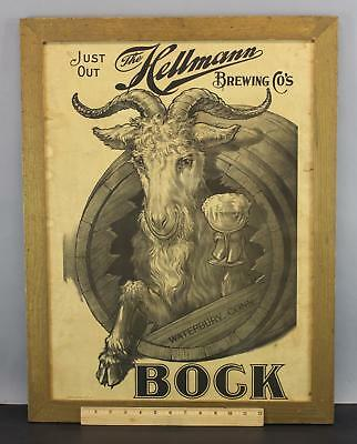 Antique Hellmann Brewing Co Bock Beer, Pre-Prohibition Poster Advertising Print