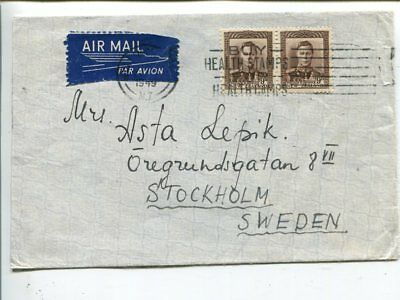 New Zealand air mail cover to Sweden 1949