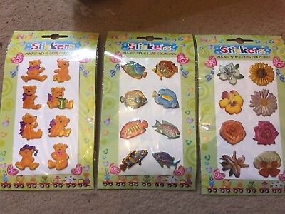 600 X Embossed Sticker Packs - Teddy Sea Life Flowers