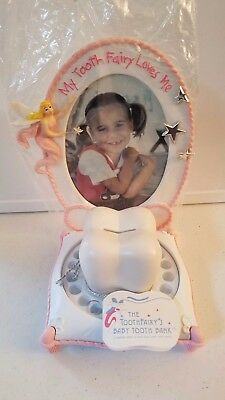 The Tooth Fairy's Baby Tooth Bank and Frame Keepsake Pink New With Tags And Box
