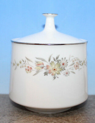 Noritake Sugar Bowl with Lid 6504 Japan Pink Grey Flowers Platinum Band Vintage