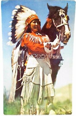 1950s POSTCARD WESTERN INDIAN MAIDEN, WITH HORSE