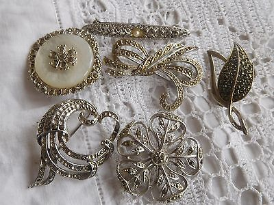 Lovely Collection of Vintage 1950s MARCASITE Costume Brooches