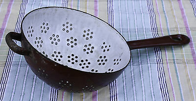 Vintage Shabby Brown And Grey Enamel French Colander